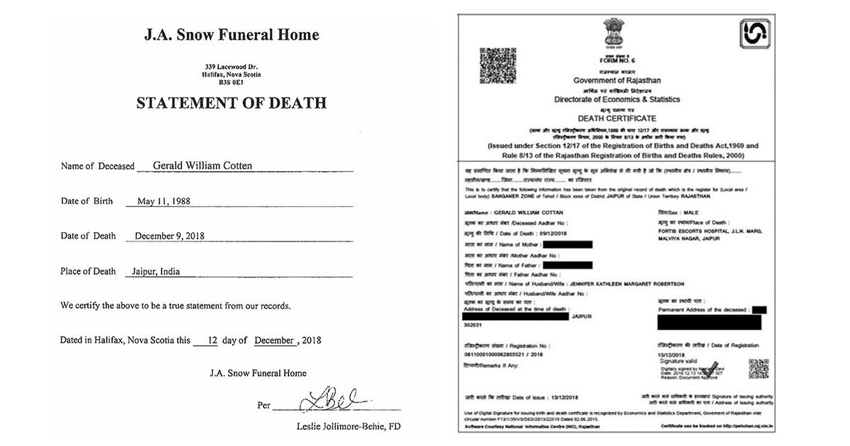 Gerald Cotten Death Certificates