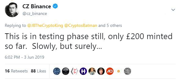 Binance GBP Tweet