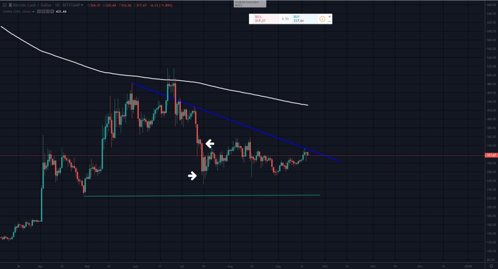 Bitcoin Cash | BCH | BCH/USD Market Analysis by Hermann Koeckemann, Daily chart (1-day Chart), Technical Analysis | 23 – 29 September 2019 | CoinChoose.com
