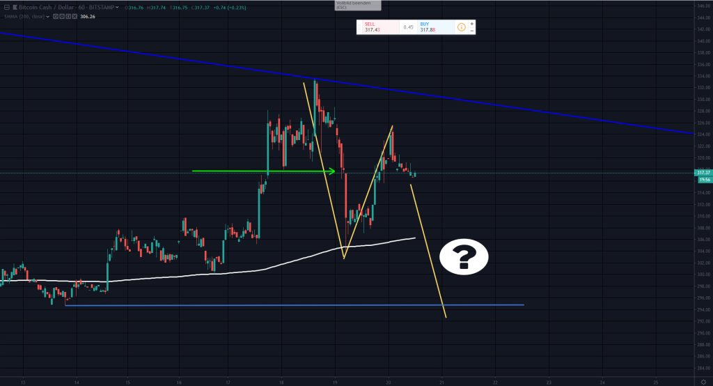 Bitcoin Cash | BCH | BCH/USD Market Analysis by Hermann Koeckemann, One hour chart (1-hour Chart), Hourly Chart | Technical Analysis | 23 - 29 September 2019 | CoinChoose.com